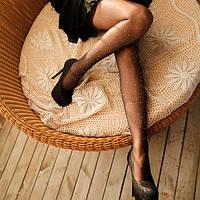 Женские колготки капроновые в стразах черные