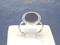 Срібне кільце з оніксом і фіанітами. Артикул КВ229С 17, фото 1