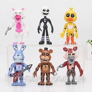 Комплект фігурок з популярної гри «П'ять ночей з Фредді» (FNAF) 6 штук, ~ 10см