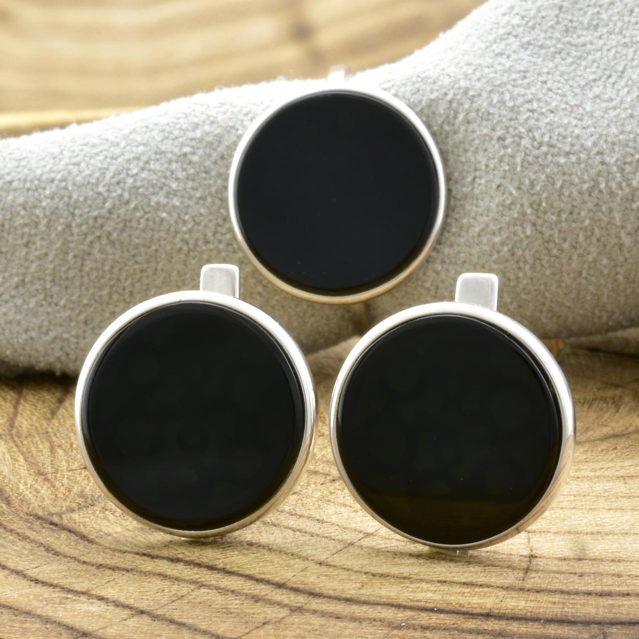Серебряный набор 1226БС кольцо размер 16.5 + серьги 14х14 мм вставка оникс