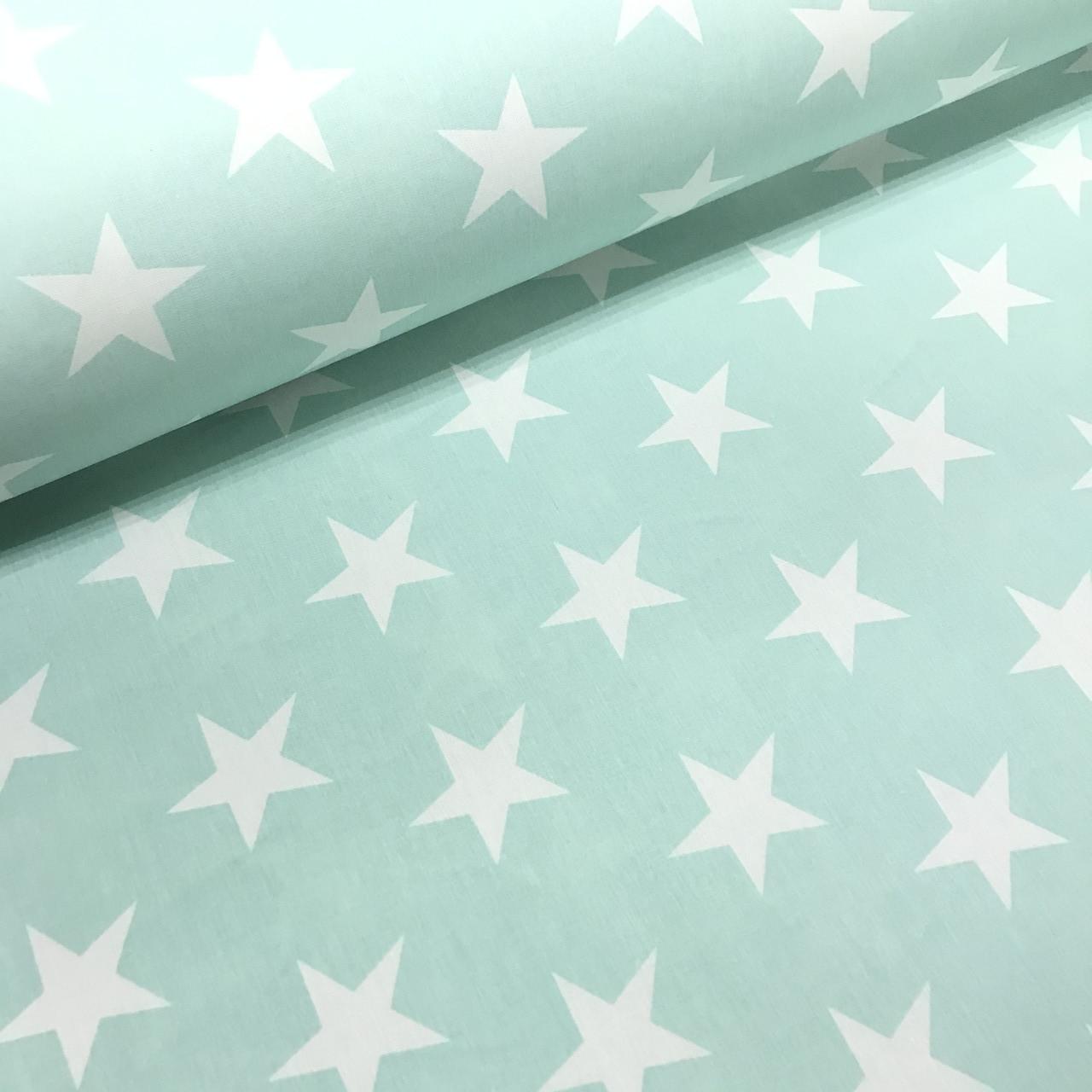 Ткань поплин (ТУРЦИЯ шир. 2,4 м) звезды крупные белые на мятном