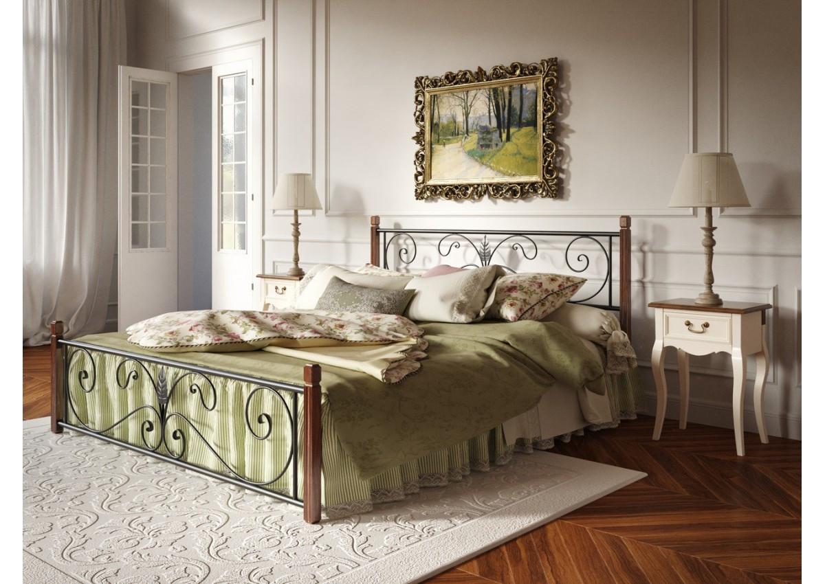 Кровать кованая Крокус (деревянные ножки) Тенеро 190(200) х 120
