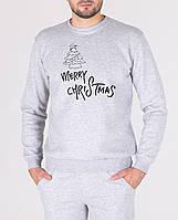 Свитшот новогодний зимний Merry Christmas X-grey | Кофта зимняя, фото 1