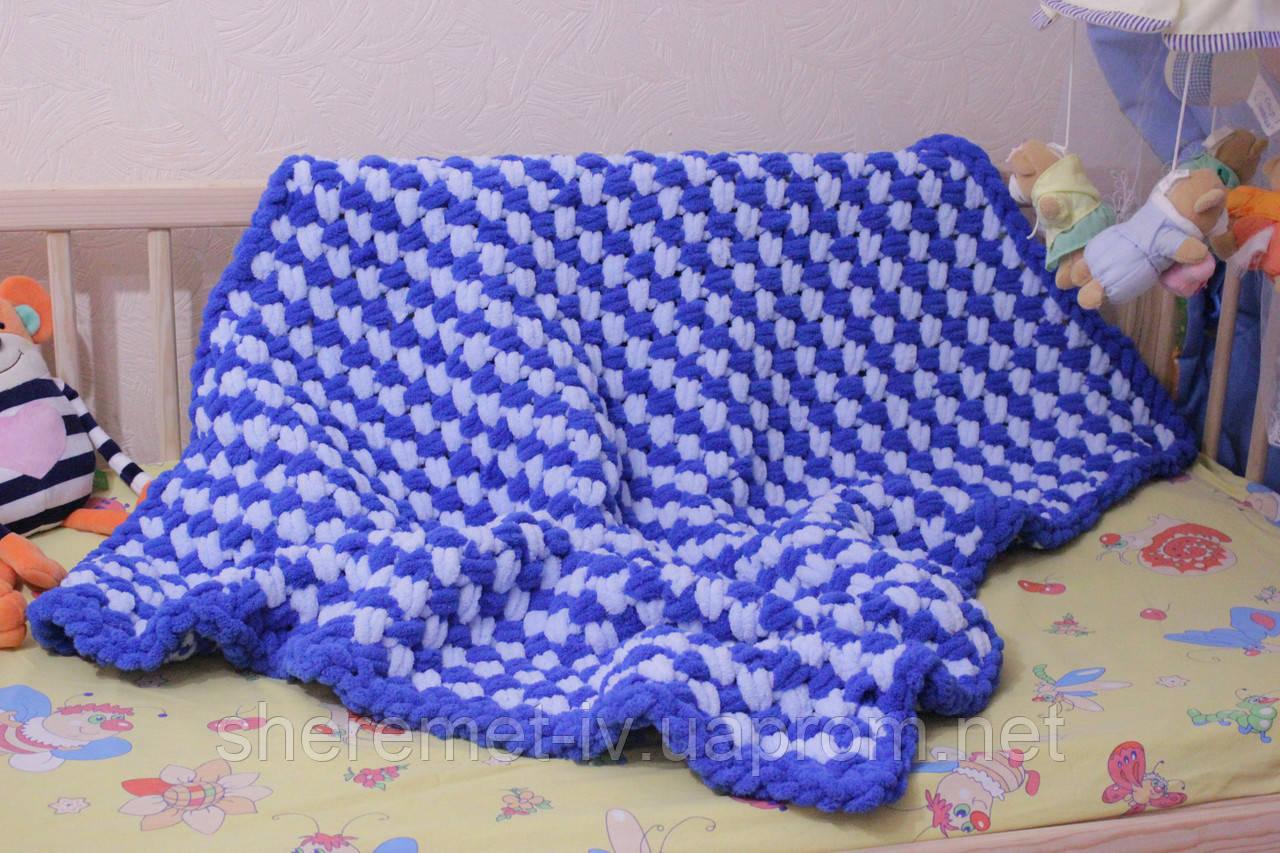 Детский плюшевый плед покрывало сине-голубой 85*110 см в коляску, кроватку или на выписку ручная работа