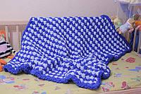 Детский плюшевый плед покрывало сине-голубой 85*110 см в коляску, кроватку или на выписку ручная работа, фото 1