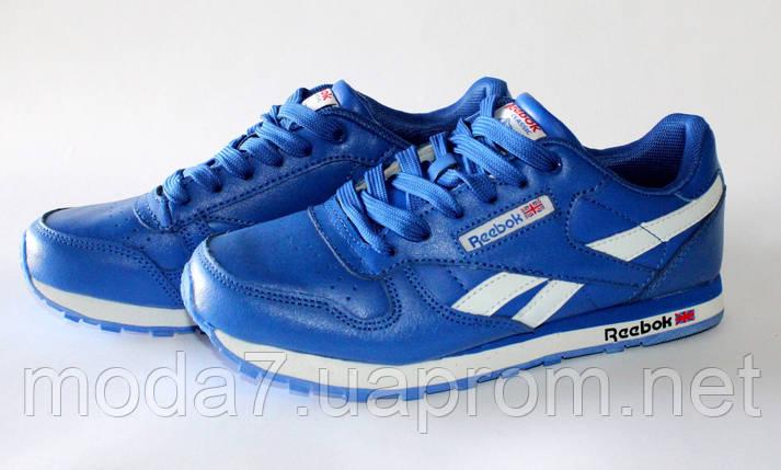 Кроссовки женские синие Reebok Classic нат. кожа реплика, фото 2