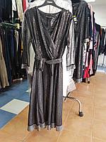 Праздничное батальное серебристое платье с запахом на лифе  и прозрачными рукавами Dalida