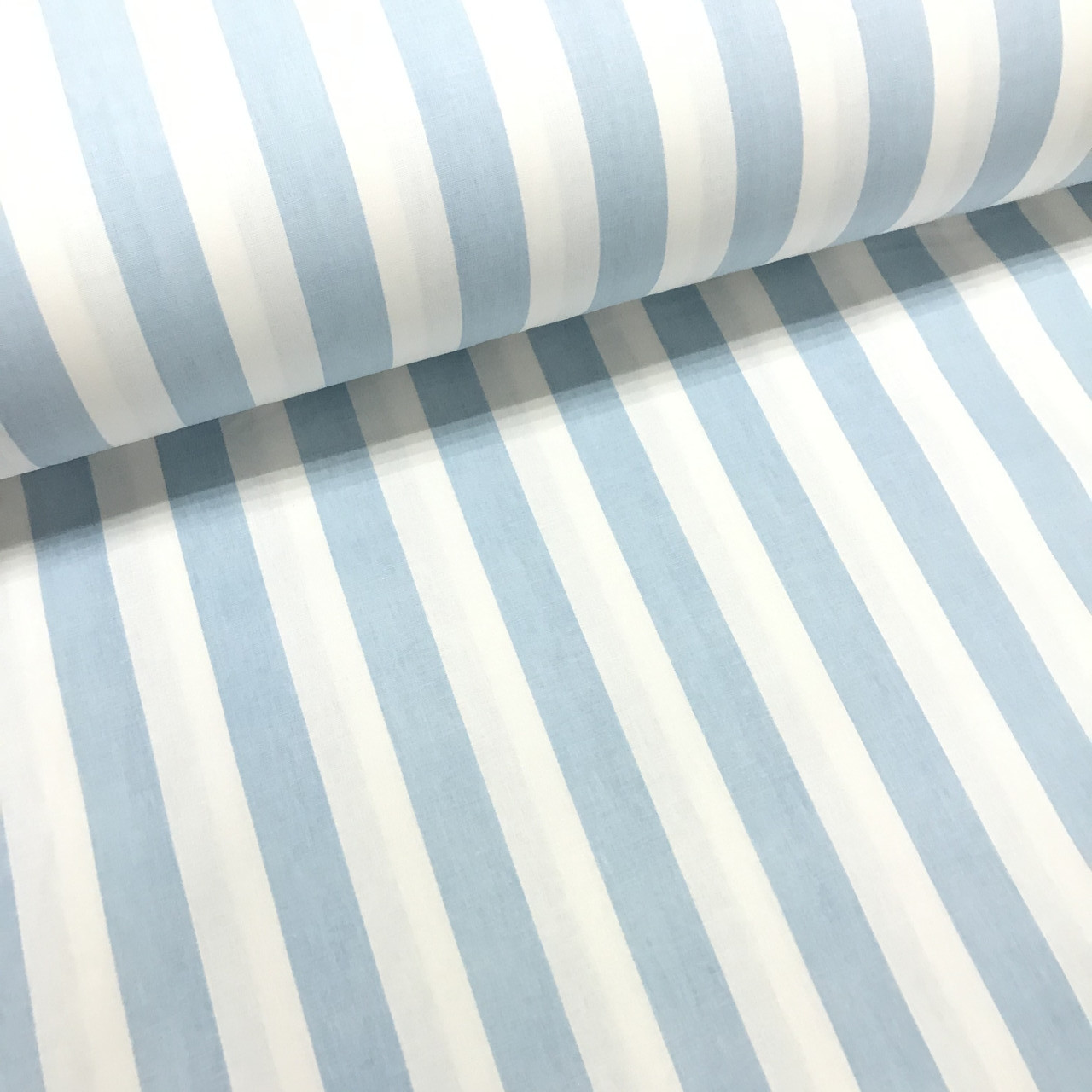 Хлопковая ткань (ТУРЦИЯ шир. 2,4 м) полоска голубая 20мм