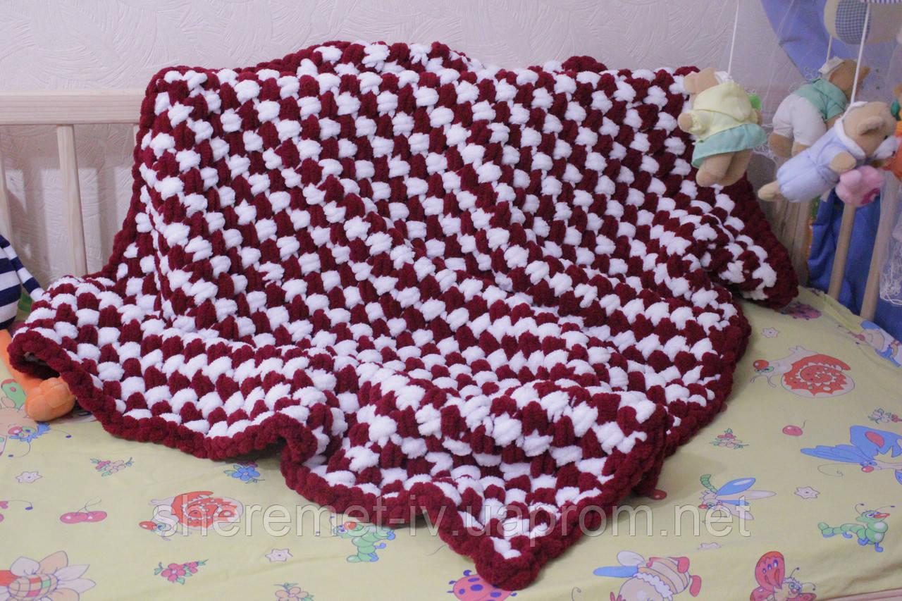Детский плюшевый плед покрывало бордово-белый 90*120 см в коляску, кроватку или на выписку ручная работа