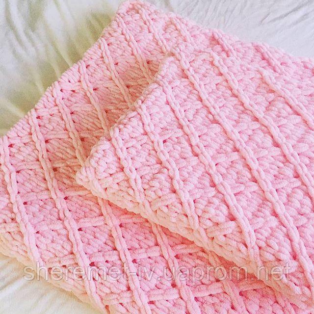 Детский плюшевый плед покрывало  розовый 123*86 см в коляску, кроватку или на выписку ручная работа