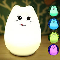 Ночник светильник детский Котик Эврика colorful silicone animal light, фото 1