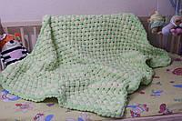 Детский плюшевый плед покрывало желто-салатовый 87*115 см в коляску, кроватку или на выписку ручная работа