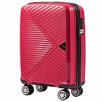 Дорожный чемодан пластиковый полипропилен Wings PP06 маленький на 4 колесах красный
