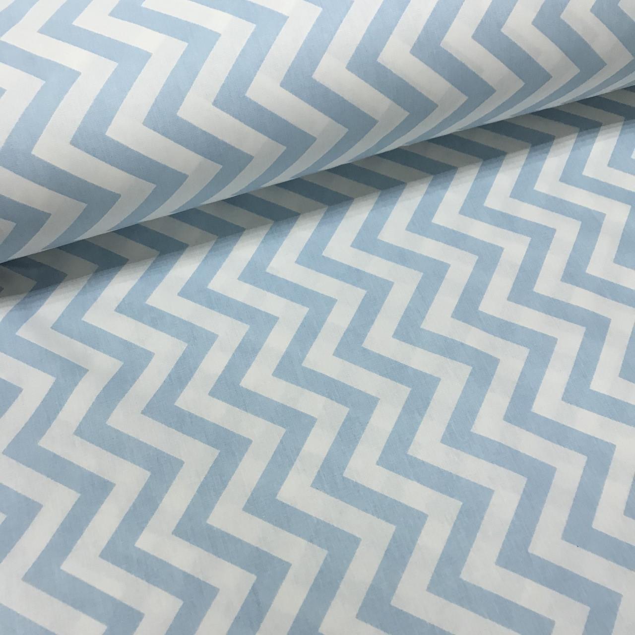 Ткань поплин зигзаг мелкий редкий голубой  (ТУРЦИЯ шир. 2,4 м)