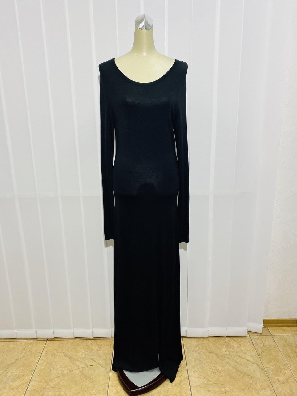 Платье трикотаж макси черное с длинным рукавом
