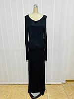 Платье трикотаж макси черное с длинным рукавом, фото 1