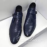 Мужские синие ботинки из натурального питона, фото 3