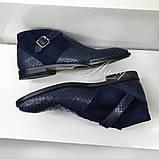 Мужские синие ботинки из натурального питона, фото 2