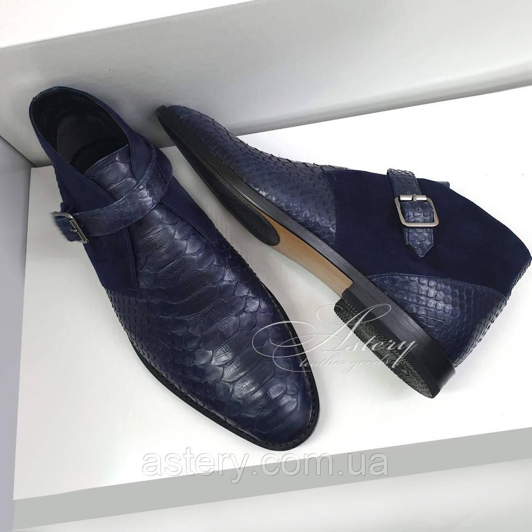 Мужские синие ботинки из натурального питона