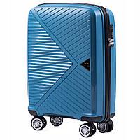 Дорожный чемодан пластиковый полипропилен Wings PP06 маленький на 4 колесах синий