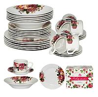 """Обеденный набор столовой посуды на 6 персон """"Хризантемы"""", фарфор (30 предметов)"""