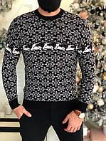 Мужской свитер черный с оленями, фото 1