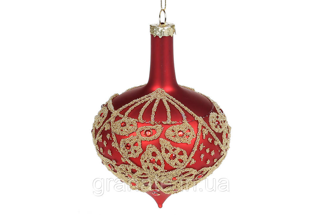 Елочное украшение 12см с стразами, цвет - матовый красный(6 шт)