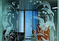 Стеклянные двери с художественным пескоструем., фото 1