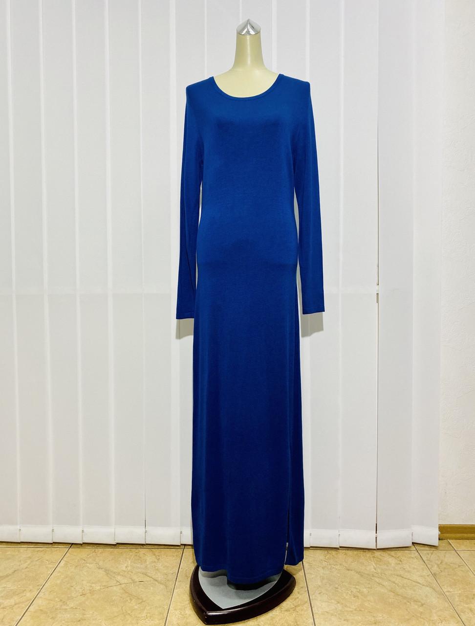 Платье трикотаж макси синее с длинным рукавом