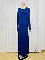 Платье трикотаж макси синее с длинным рукавом, фото 1