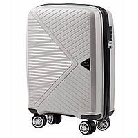 Дорожный чемодан пластиковый полипропилен Wings PP06 маленький на 4 колесах светло серый
