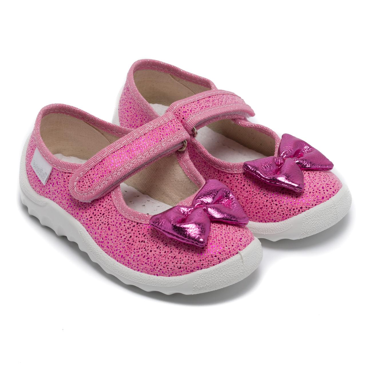 Ортопедические тапочки Waldi для девочки, Алина светло - розовый с бантом, стелька с супинатором, размер 24-30