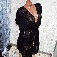 Большой размер 58-60. Женская пляжная одежда, черный кружевной халат для женщин, пляжная накидка