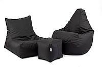 Черный набор мягкой мебели (кресло груша, диван, пуфик XL)