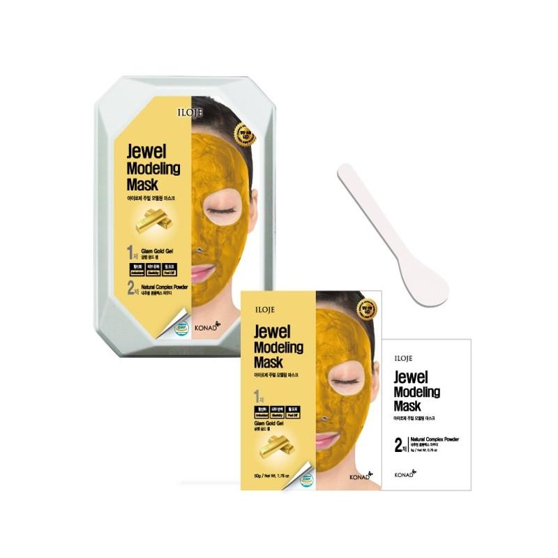 Моделирующая маска для лица с частицами золота (кейс) Konad Iloje Jewel Modeling Mask Pack Glam Gold 50 г+5 г (8809433726059)