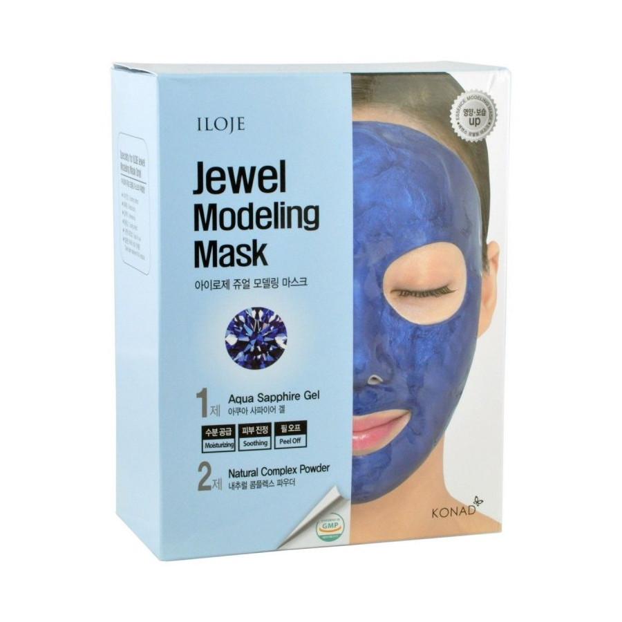 Моделирующая маска для лица с сапфировой пудрой (набор) Konad Iloje Jewel Modeling Mask Pack Aqua Sapphire 5шт