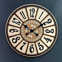 Настенные часы из ДВП Декор Карпаты Premium UGB053 Бежевый (JRTg58081)