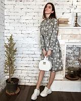 Вельветовое платье классическое с рукавами на резинке и пуговичками, Серый
