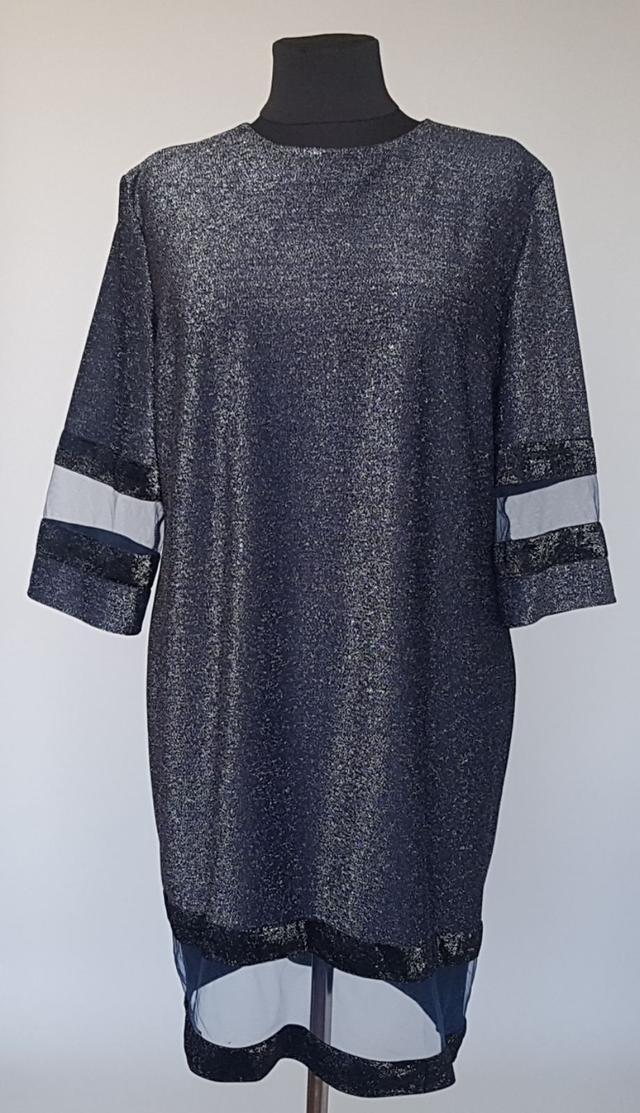 картинка женское платье с напылением темно-синего цвета