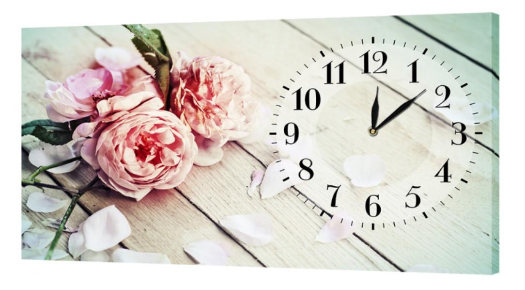 Настенные часы ProfART на холсте 30 x 53 см Нежные цветы (c774_S)