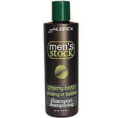 Aubrey Organics, men's Stock, Шампунь, біотин і женьшень, 8 рідких унцій (237 мл)