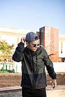 "Мужская спортивная ветровка ""Anti-wind"" хаки - черная, фото 1"