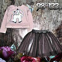 """Нарядный костюм для девочки свитерок и фатиновая юбочка """"Пони"""" 122р"""