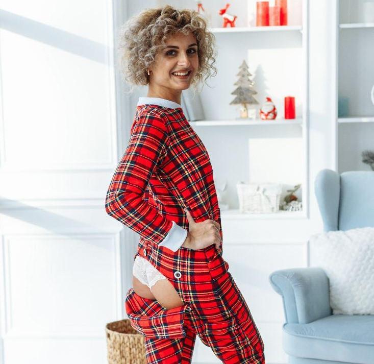 Жіноча піжама тепла з кишенею на попі червона шотландка. Ідеальний подарунок