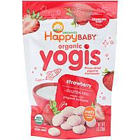 Happy Family Organics, Yogis, органические снеки из сублимированного йогурта с фруктами, клубника, 28 г, официальный сайт