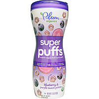 Plum Organics, Super Puffs, органические колечки из овощей, фруктов и злаков, черника и фиолетовый батат, 1,5 унции 42 г