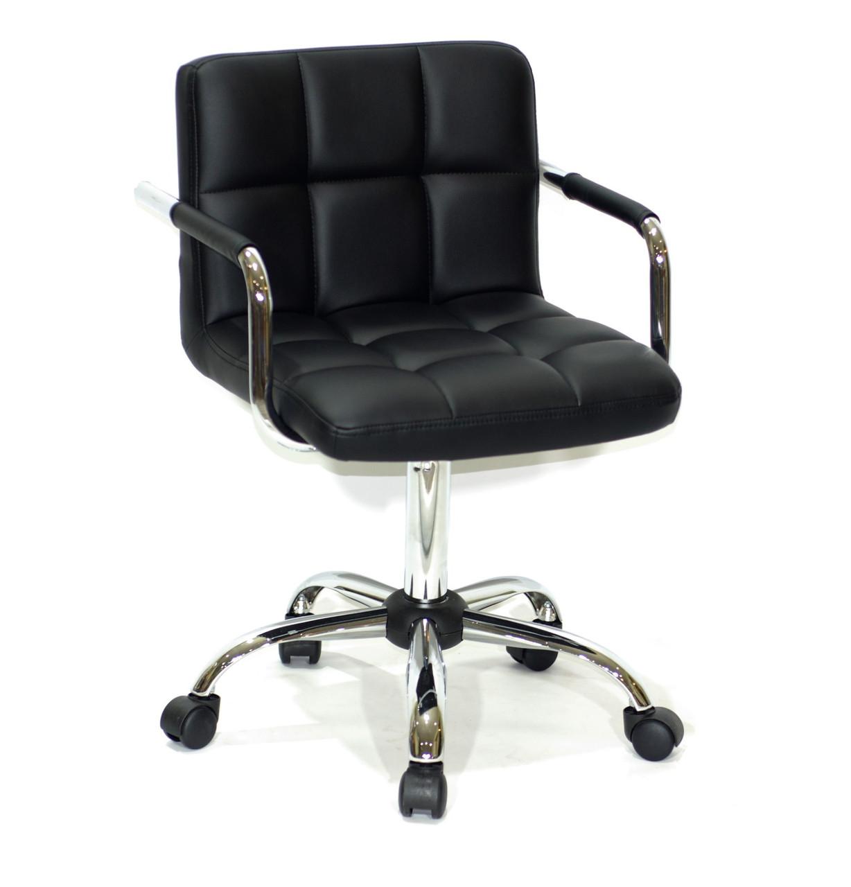 Крісло майстра Арно хром, чорна екокожа з підлокітниками на колесах