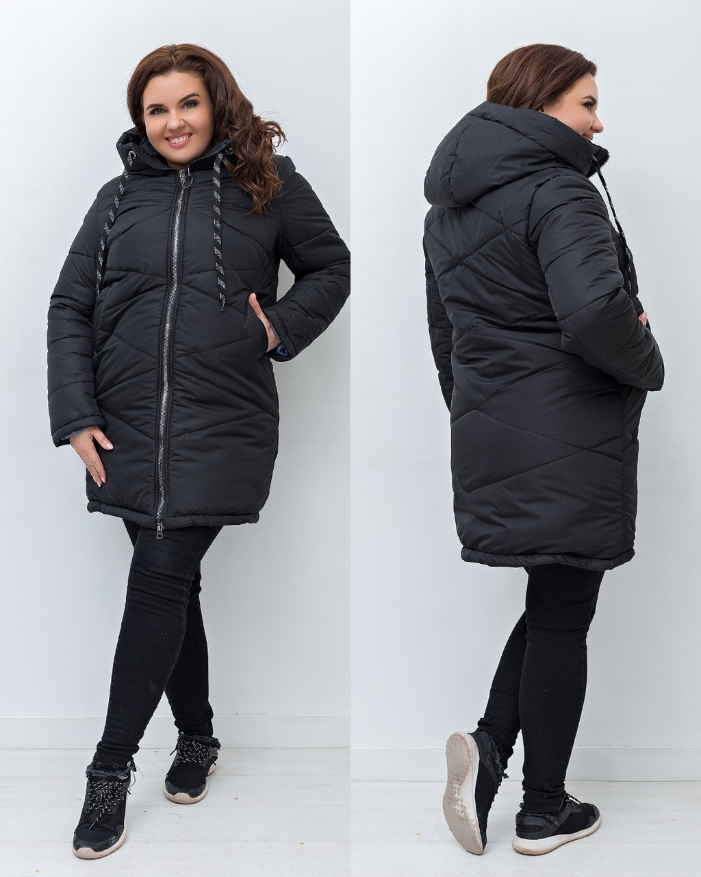 Женская зимняя теплая куртка плащевка на силиконе фиолетовая синяя черная красная 48 50 52