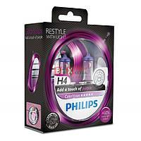 Галогенная лампа Philips H4 Color Vision Purple 60/55W 12V 12342CVPPS2 Комплект