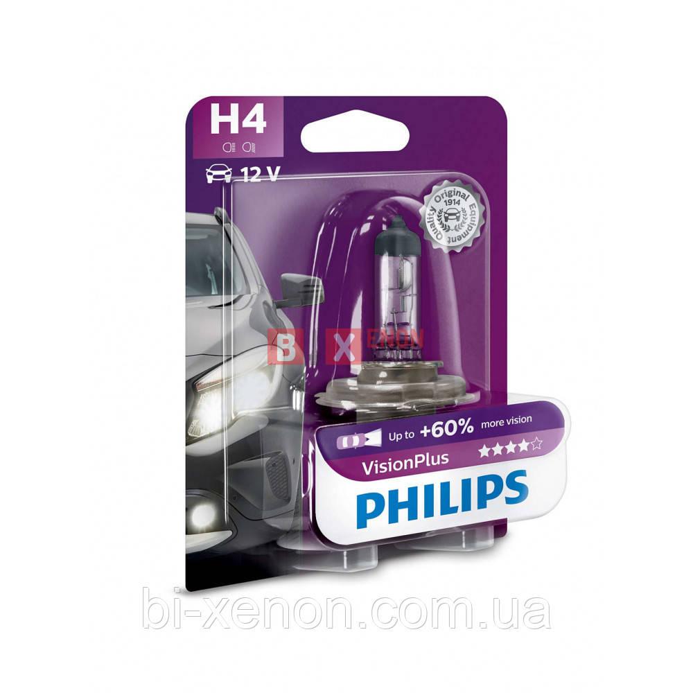 Галогенная лампа Philips H4 Vision Plus +60% 60/55W 12V 12342VPB1 Blister
